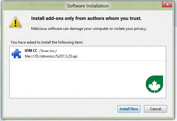 IDM CC untuk Mozilla Firefox telah berhasil Anda install. Sekarang ...