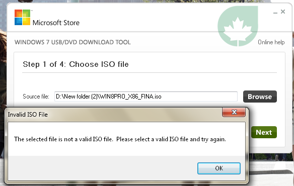 Siasatinot a valid iso file? di Windows 7 USB Download Tool